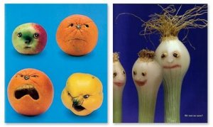 """From """"Foods with Moods,"""" one of my favorite children's books. Can you tell which scallion is feeling insecure? Or are you not so sure?"""